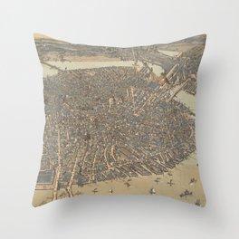 Vintage Pictorial Map of Boston MA (1899) Throw Pillow