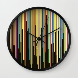 Night's End - Abstract, Geometric Color Stripes Wall Clock