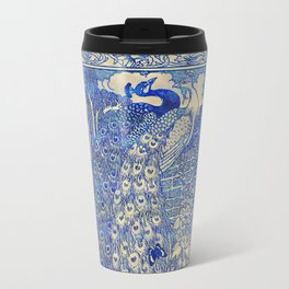 Garden Peacock Pair Travel Mug