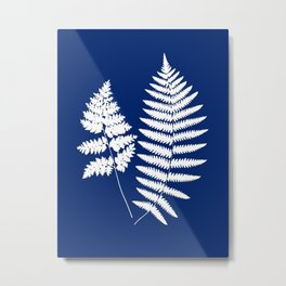 Woodland Fern Pattern, Cobalt Blue and White Metal Print