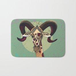 Giraffe Big Horn Green Bath Mat