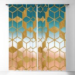 Golden Cubes Blackout Curtain