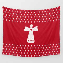 Christmas Angel with hearts on red Wall Tapestry