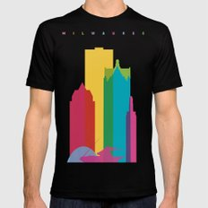 Shapes of Milwaukee. Accurate to scale Black MEDIUM Mens Fitted Tee