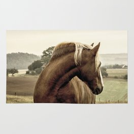 brown horse on the hill Rug