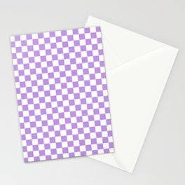Small Checkered - White and Light Violet Stationery Cards