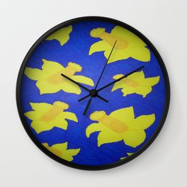 Pop Art Daffodils Blue Wall Clock