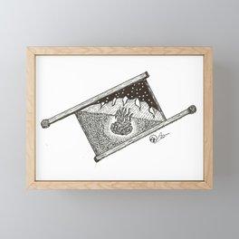 """Campfire Dream"" Campfire, Camping, Hiking, Mountains, Tent, Nature Decor Framed Mini Art Print"