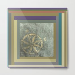Compass: painted in gold metallic on hand dyed green fabric Metal Print