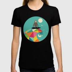 Surfs Up X-LARGE Black Womens Fitted Tee