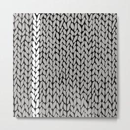 Grey Knit With White Stripe Metal Print