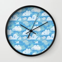 Funny Little Clouds Wall Clock