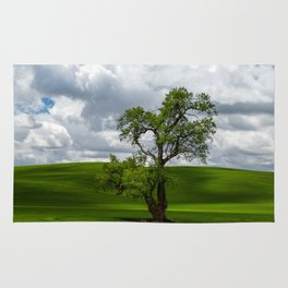 Single Tree in Green Field Rug