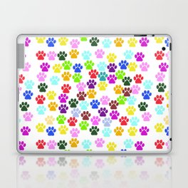 Dog Paws, Trails, Paw-prints - Red Blue Green Laptop & iPad Skin