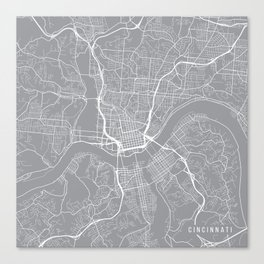 Cincinnati Map, Ohio USA - Pewter Canvas Print