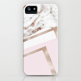 Geometric marble - luxe rose gold edition I iPhone Case