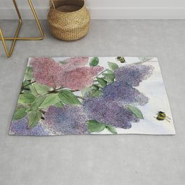 Lilacs and Bees Watercolor Painting Rug