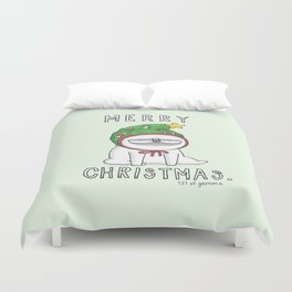 Grumpy Christmas puggy Duvet Cover