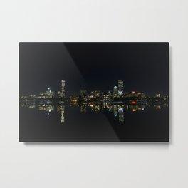 Boston Skyline at Night Metal Print