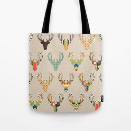retro deer head on linen Tote Bag