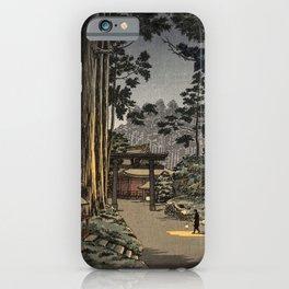Tsuchiya Koitsu - Nikko Futarasan Temple - Japanese Vintage Woodblock Painting iPhone Case