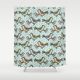 Cute Mama Birds Heart Love Blue and Pink Shower Curtain