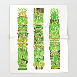 Tiki Totems – Green Throw Blanket
