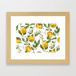 Citrus OrangeTree Branches with Flowers and Fruits Framed Art Print