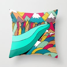 River in the mountains Throw Pillow