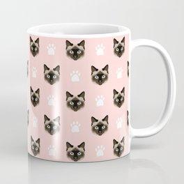 Siamese Cat cute cat paw print pink pastel kids fur baby pet portrait siamese cat owner must have  Coffee Mug