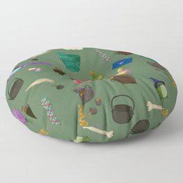 Assorted Witchery Repeating Pattern Green Floor Pillow