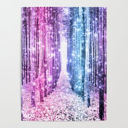 Magical Forest : Pastel Pink Lavender Aqua Periwinkle Ombre Poster