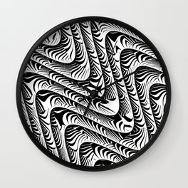 Black and White Serpentine Pattern Wall Clock