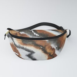 watercolor abstract painting with gold brown and sepia Fanny Pack