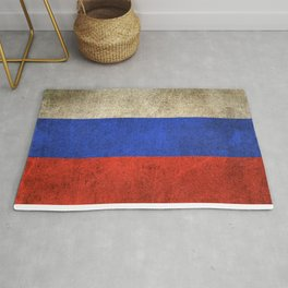 Old and Worn Distressed Vintage Flag of Russia Rug