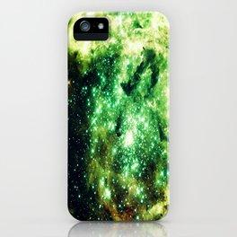 Lime Green Grass Galaxy Nebula iPhone Case