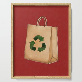 Recycle Symbol on Paper Bag Serving Tray