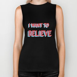 I Want To Believe - Blue/Red Biker Tank