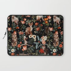 Cat and Floral Pattern II Laptop Sleeve