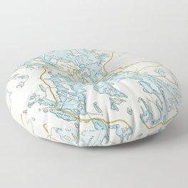 Vintage Muskoka Lakes Map Floor Pillow