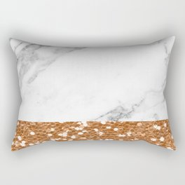 Marble and brass glitter Rectangular Pillow