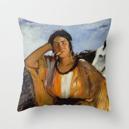 Gypsy with a Cigarette, Edouard Manet Throw Pillow