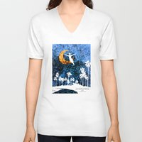 neverland V-neck T-shirts featuring Peter Pan flying through Neverland by Chien-Yu Peng