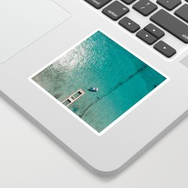 Caribbean Sea Blue Boat Drone Photo Sticker
