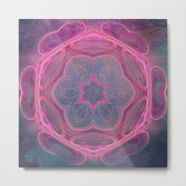 whimsical fractal love in pink Metal Print