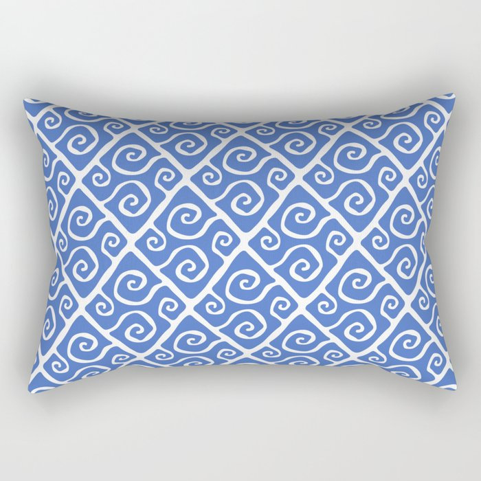Mid Century Modern Diamond Swirl Pattern Blue Rectangular Pillow