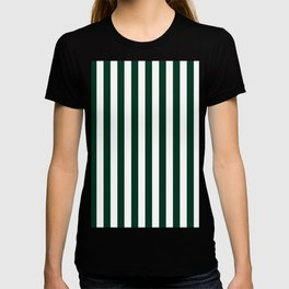 Narrow Vertical Stripes - White and Deep Green T-shirt