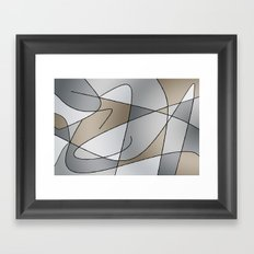 ABSTRACT CURVES #2 (Greys & Beiges) Framed Art Print