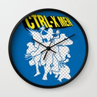 x men Wall Clocks featuring Ctrl-X Men by Faniseto