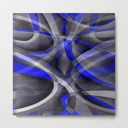 Eighties Groovy Royal Blue and Grey Arched Line Pattern Metal Print